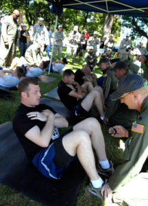 Demonstration of a correct form sit-up from the Air Mobility Rodeo at Joint Base Lewis-McChord in 2011. Image courtesy of the US Air Force.