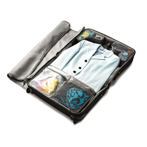 rolling garment bag open
